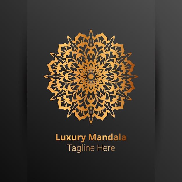 Logotipo de mandala ornamental de lujo, estilo arabesco. Vector Premium