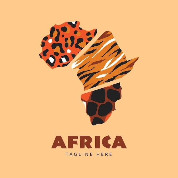 Logotipo del mapa de áfrica con estampado animal vector gratuito