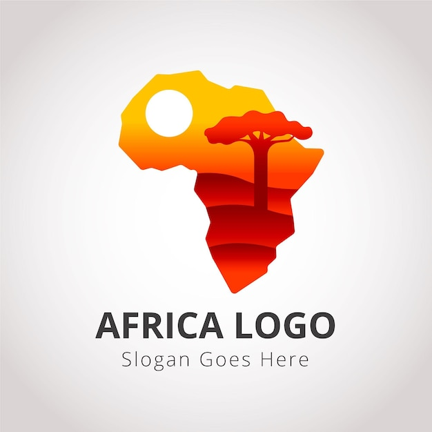 Logotipo de mapa de áfrica con marcador de posición de lema vector gratuito