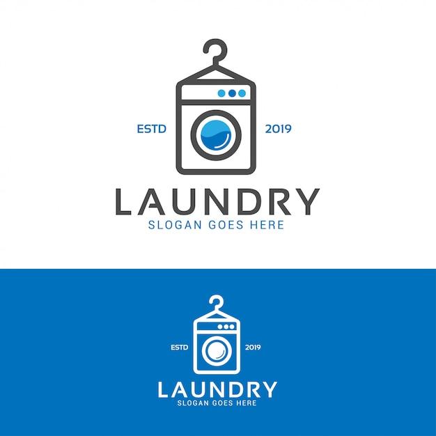 Logotipo de la máquina de lavado de ropa Vector Premium