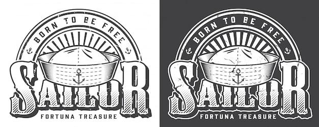 Logotipo marino monocromo vintage vector gratuito