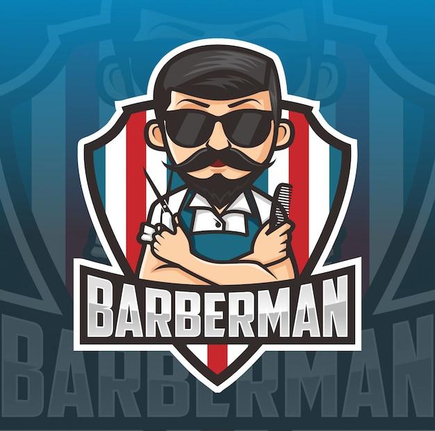 Logotipo de la mascota de barber man Vector Premium