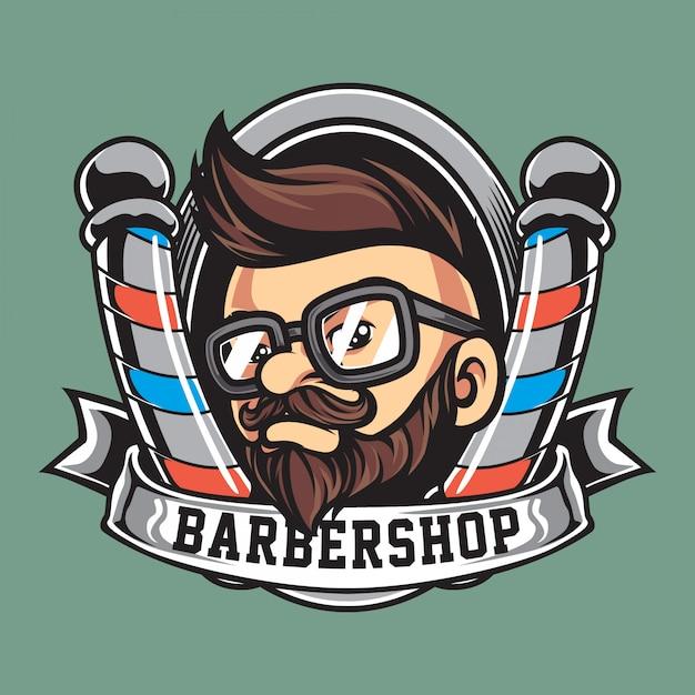 Logotipo de la mascota de la barbería vintage Vector Premium