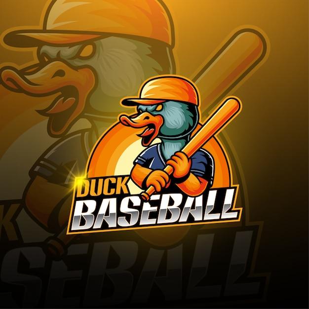 Logotipo de la mascota de baseball duck esport Vector Premium