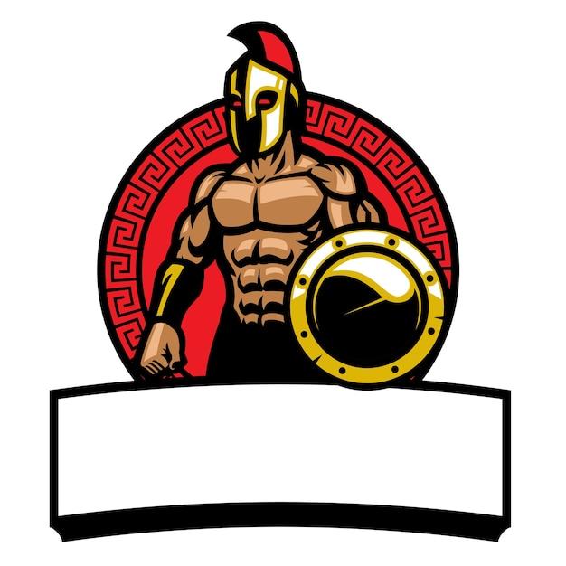 Logotipo de la mascota del combatiente del ejército espartano aislado en blanco Vector Premium
