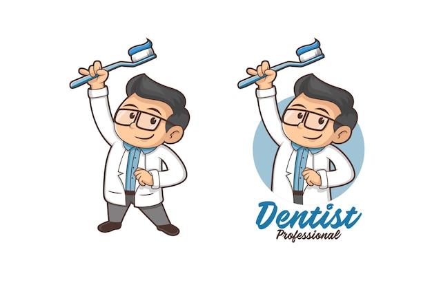 Logotipo de mascota dentista profesional Vector Premium