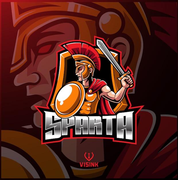 Logotipo de la mascota del deporte espartano. Vector Premium