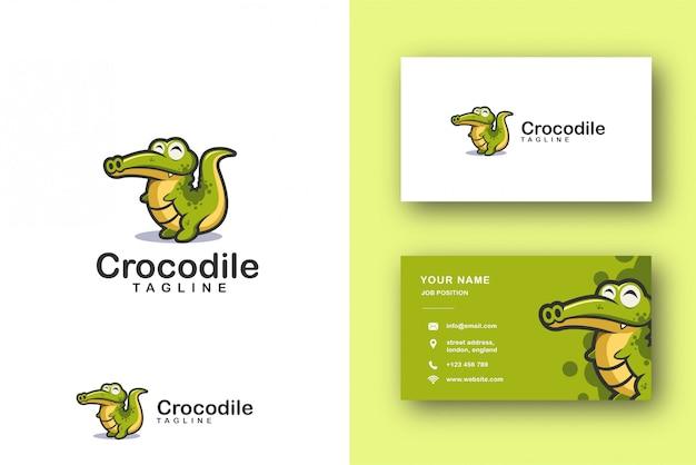Logotipo de mascota de dibujos animados de cocodrilo cocodrilo y plantilla de tarjeta de visita Vector Premium