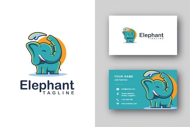 Logotipo de la mascota del elefante y plantilla de tarjeta de visita Vector Premium