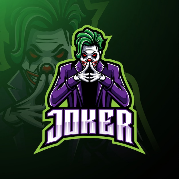 Logotipo de la mascota de joker esport Vector Premium