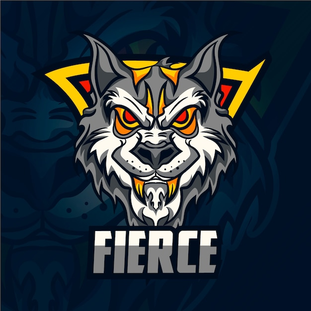 Logotipo de la mascota del lobo salvaje Vector Premium