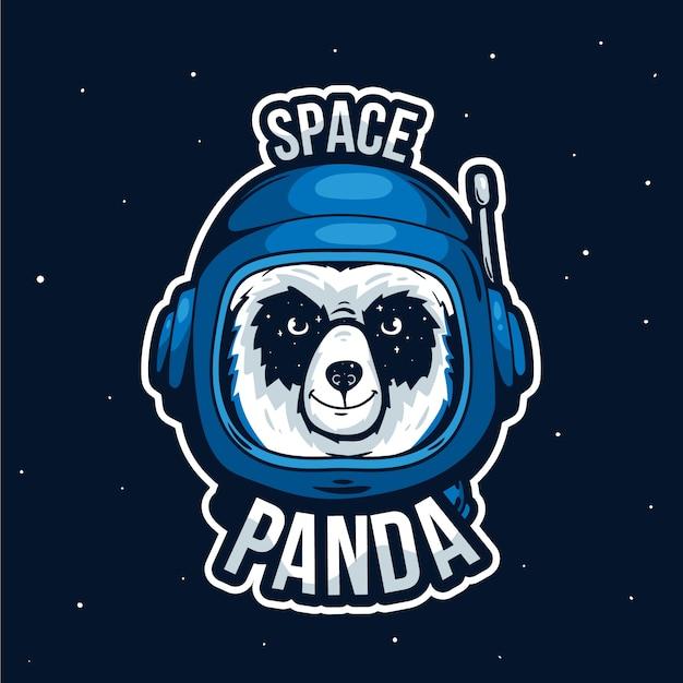Logotipo de mascota con panda espacial Vector Premium