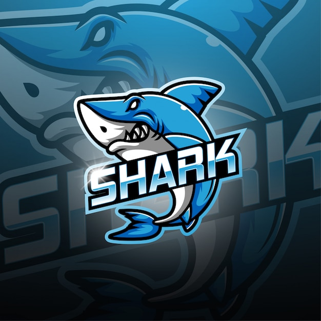 Logotipo de la mascota de tiburón esport Vector Premium