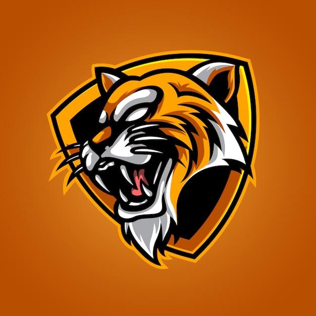 Logotipo de la mascota de tiger e sport Vector Premium