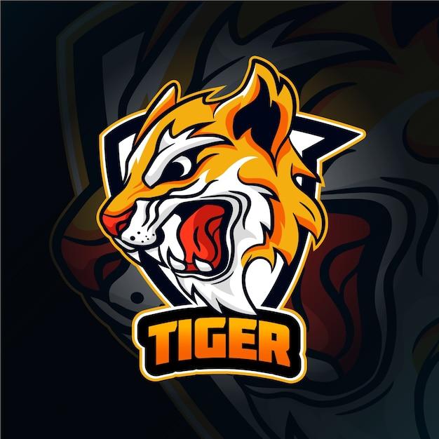 Logotipo de la mascota del tigre salvaje Vector Premium