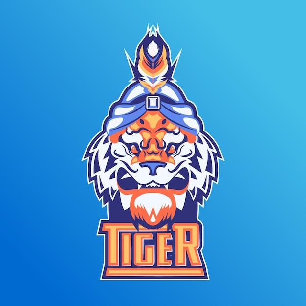 Logotipo de mascota con tigre Vector Premium