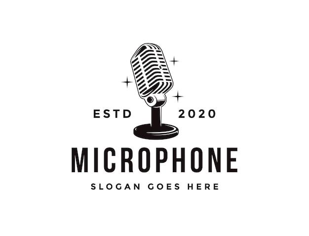 Logotipo de micrófono de soporte antiguo, plantilla de icono de logotipo de podcasting Vector Premium