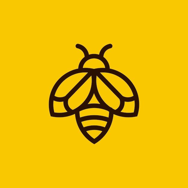 Logotipo minimalista del esquema de la abeja Vector Premium