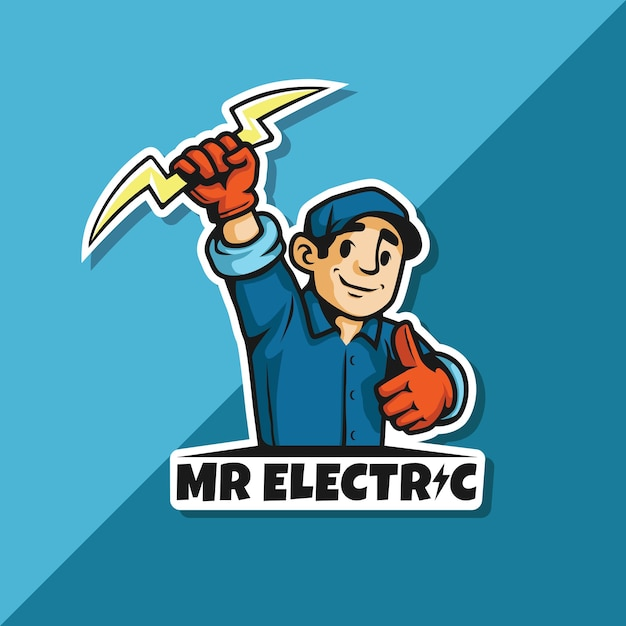 Logotipo de mister electric Vector Premium