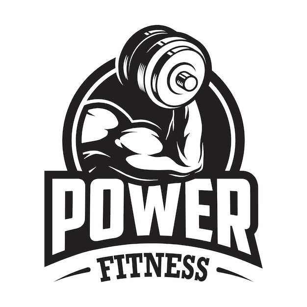 Logotipo monocromo de deporte y fitness vintage con mano muscular sosteniendo pesas Vector Premium