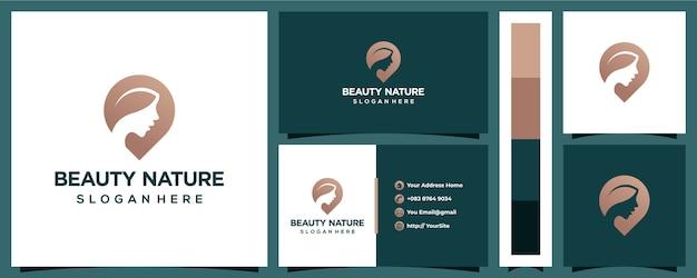 Logotipo de mujer de belleza natural con plantilla de tarjeta de visita Vector Premium