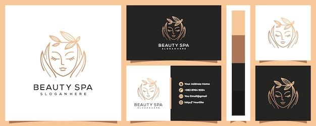 Logotipo de mujer de spa de belleza de lujo con plantilla de tarjeta de visita Vector Premium