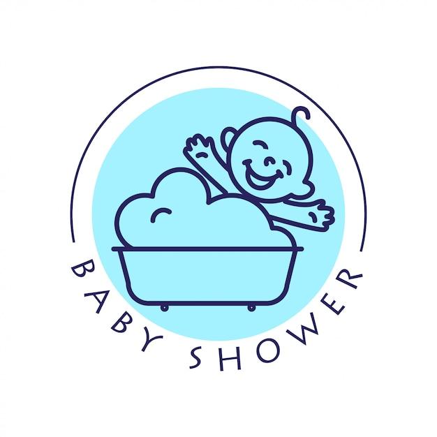 Logotipo de niño plano simple. bebé, artículos para niños, tienda de juguetes, tienda. icono de niños, personaje de bebé. niño feliz sentado en el baño aislado sobre fondo blanco. logotipo de baby shower, cosmética para el cuidado del bebé. Vector Premium