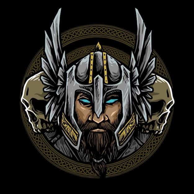 Logotipo nórdico vikingo Vector Premium