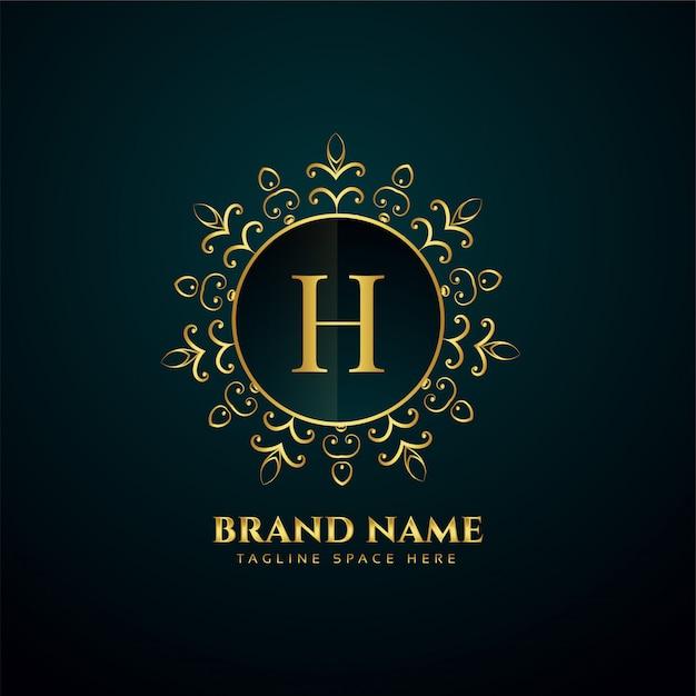 Logotipo de oro oranmental letra h de lujo vector gratuito