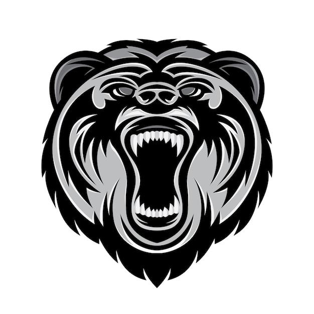 Logotipo del oso cabeza Vector Premium
