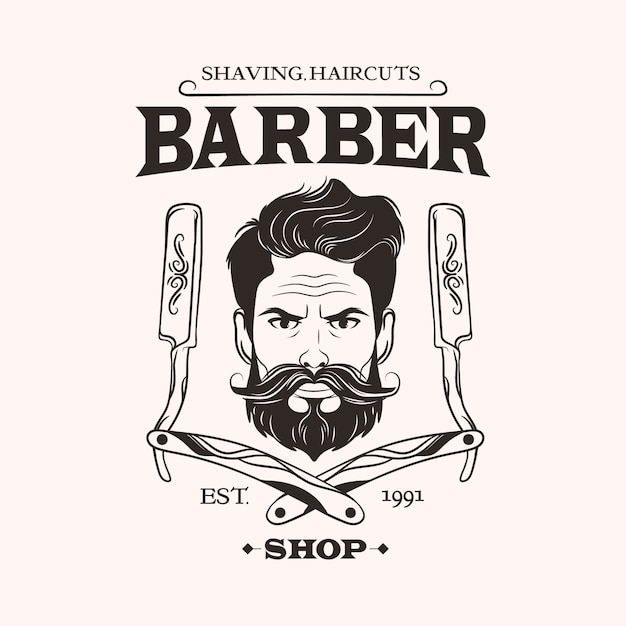 Logotipo de peluquería sobre fondo claro Vector Premium