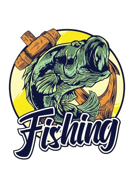 Logotipo de pesca aislado en blanco Vector Premium
