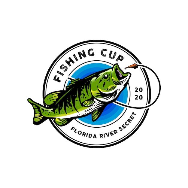 Logotipo de pesca para mascota Vector Premium