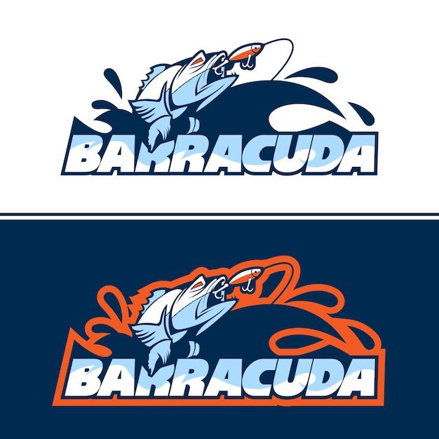 Logotipo de pez dinámico en busca de cebo. Vector Premium