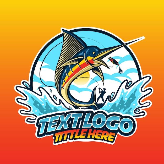 Logotipo de pez saltando Vector Premium