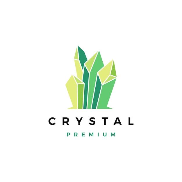 Logotipo de piedra preciosa de cristal Vector Premium