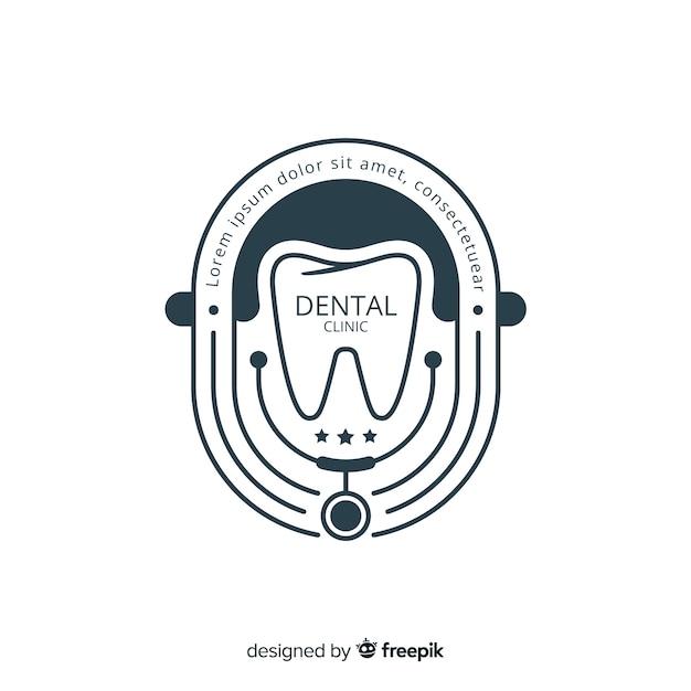 Logotipo plano clínica dental vector gratuito