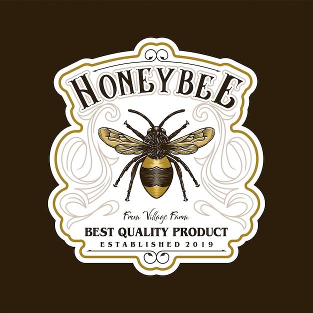 Logotipo para productos de miel o granjas de abejas. Vector Premium