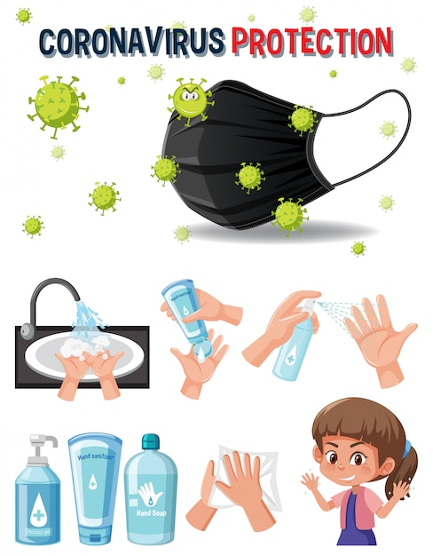 Logotipo de protección de coronavirus con manos usando producto desinfectante Vector Premium