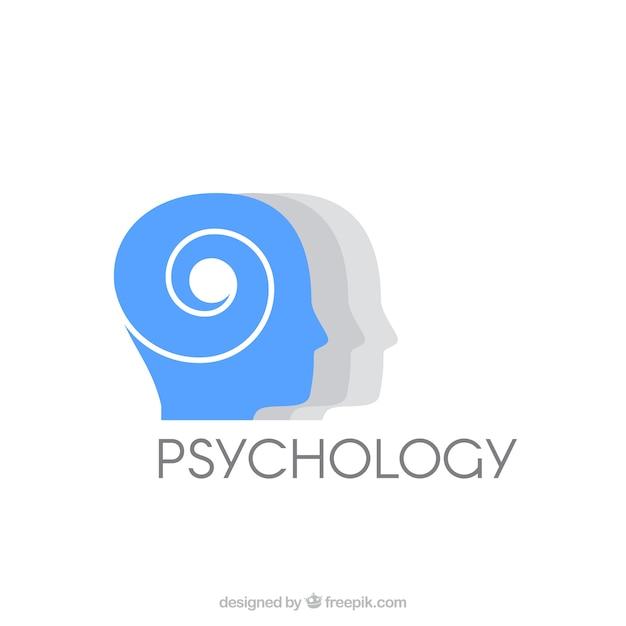 Logotipo de psicología azul y gris vector gratuito