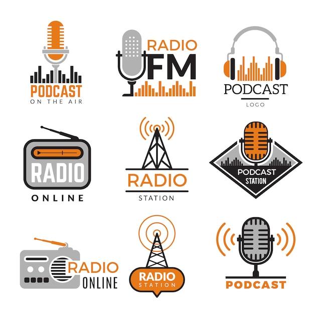 Logotipo de radio torres de podcast insignias inalámbricas colección de símbolos de estaciones de radio Vector Premium