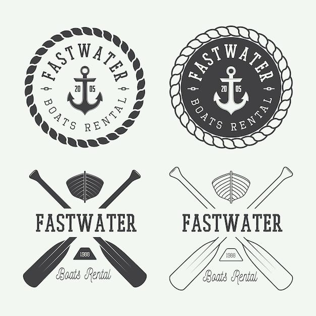 Logotipo de rafting, etiquetas Vector Premium