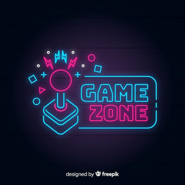 Logotipo retro de videojuegos con luces de neón vector gratuito