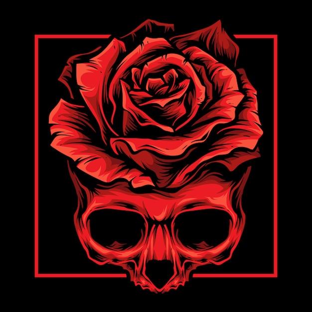 Logotipo de rosas rojas del cráneo Vector Premium