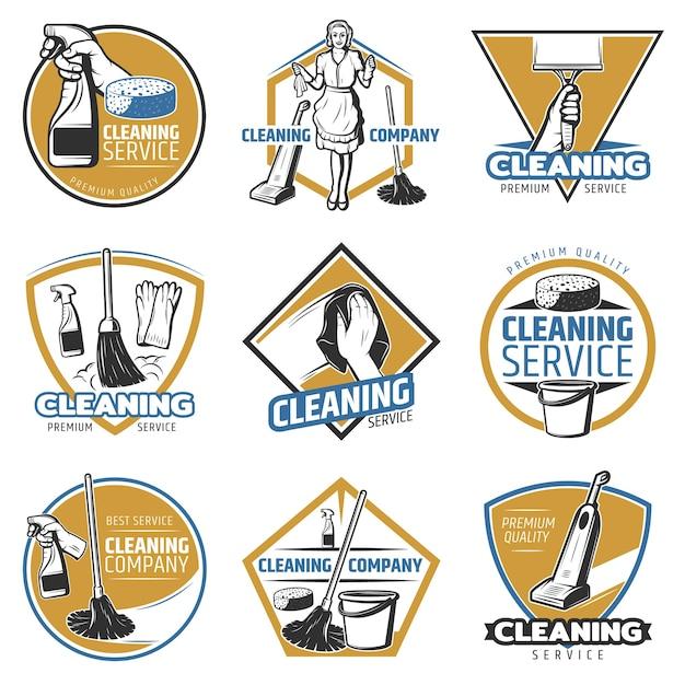 Logotipo de servicio de limpieza colorido vector gratuito