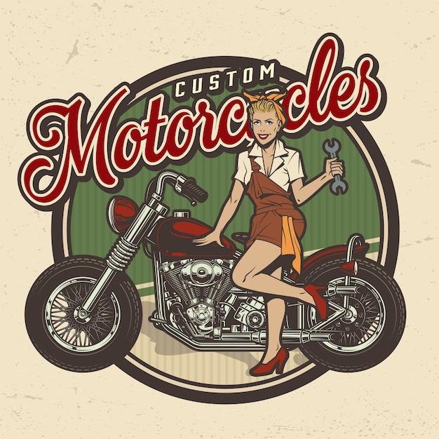 Logotipo del servicio de reparación de motocicletas coloridas vintage vector gratuito