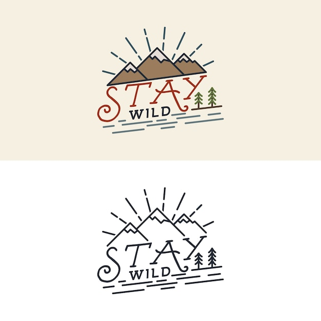 Logotipo de stay wild Vector Premium