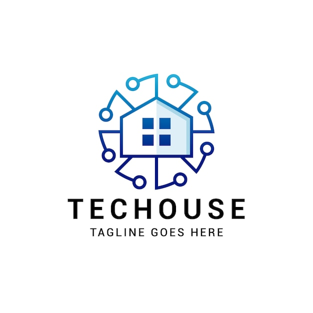 Logotipo de tech circle house Vector Premium