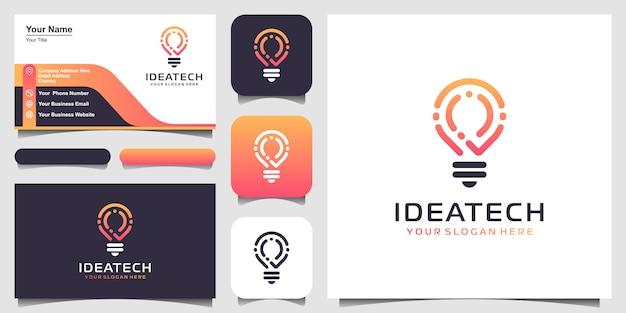 Logotipo de tecnología de bombilla creativa y diseño de tarjetas de visita. bombilla de luz creativa idea con concepto de tecnología. idea de tecnología de logotipo digital bombilla Vector Premium