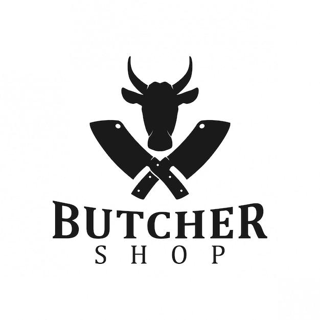 Logotipo de la tienda de carne Vector Premium